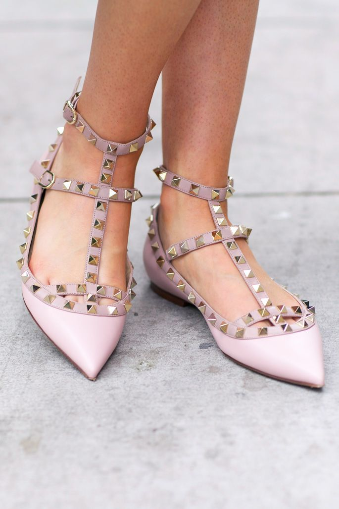 df1473da0c029 light-pink-ballet-flat-rockstud-valentinos   Valentino Shoes ...