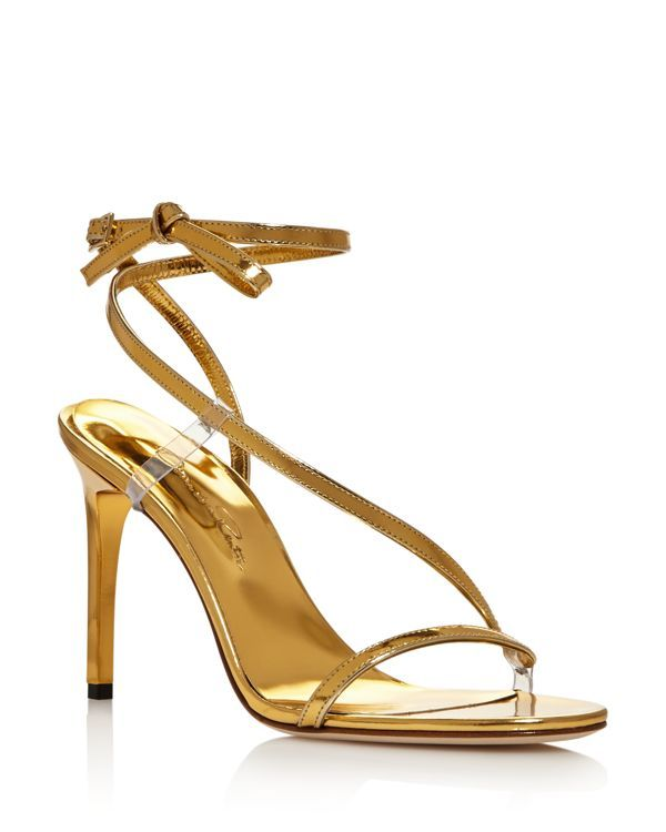 Oscar de la Renta Metallic T-Strap Sandals outlet locations online vBXmnjF9r