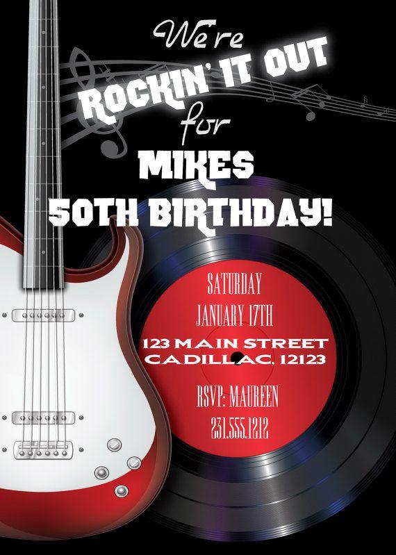 Rock n roll mens birthday invitations rockin 50th birthday rock n roll mens birthday invitations rockin 50th birthday invitation any filmwisefo