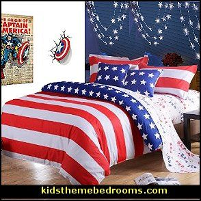 Captain america bedroom decor stripes bedding the for American themed bedroom ideas