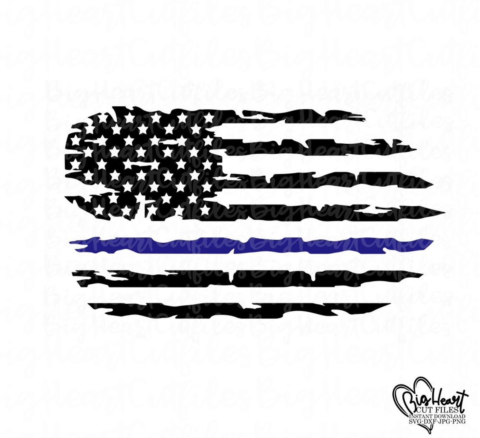 Distressed Police Flag Svg,png,jpg,dxf,Instant Download