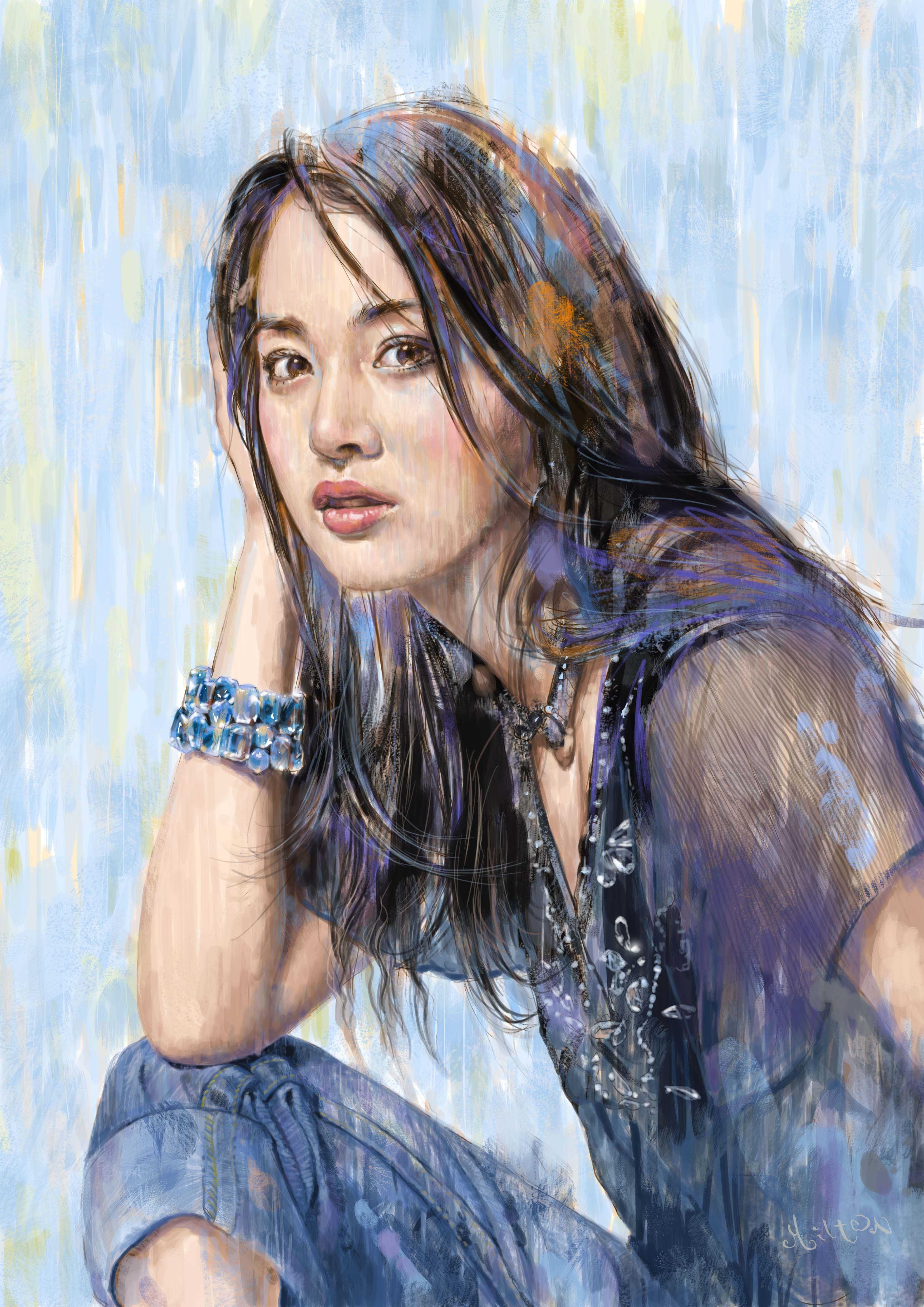 portraitby milton wong painting artist girl