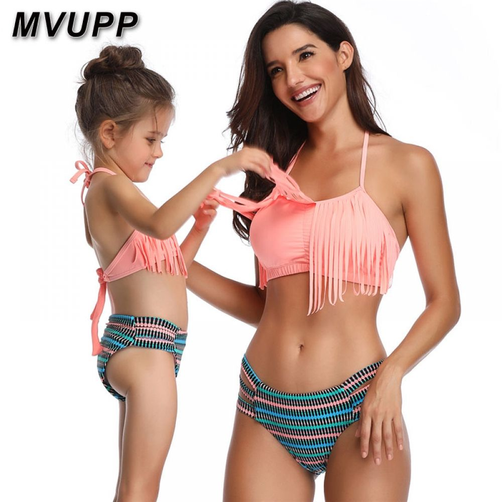 Mother Daughter Girl Family Matching High Waist Striped Bikini Swimsuit Swimwear