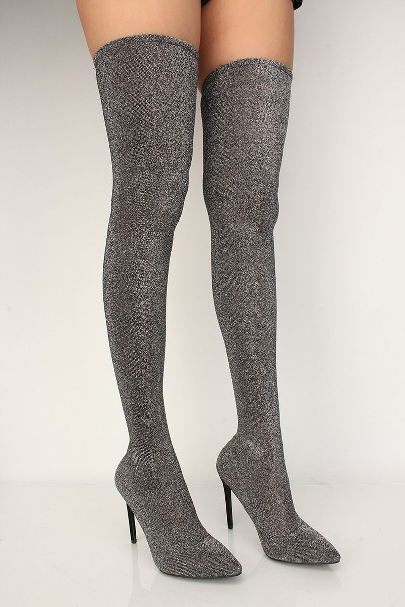 93a14264c Bold and trendy describe these stunning thigh-high boots! Featuring  shimmer  fabric