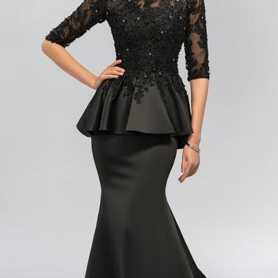 49454da225b Vintage noir sirene dentelle longues robes de soiree moitie manches perles  o cou peplum robe de 1