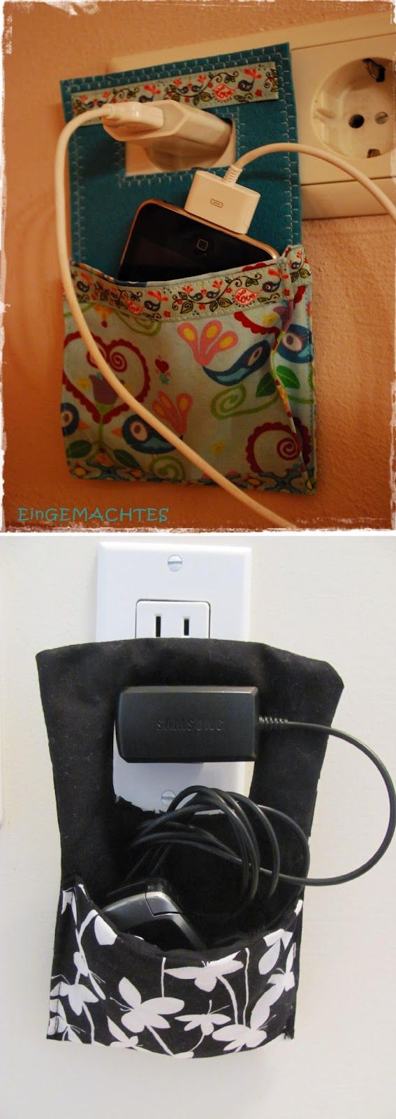 Pinterest vs Reality: Charger Wall Pocket Sewing Tutorial; I'm doing this tonight!