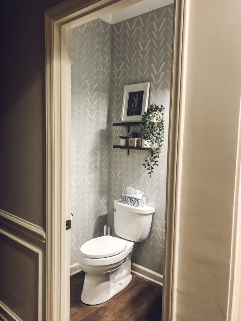 DIY Faux Wallpaper Bathroom Makeover in 2020   Bathroom ...