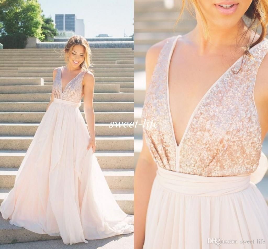 modern 2016 sheer wedding dresses rose gold sequins blush pink tulle backless a line v neck sash bow sexy beach summer bridal wedding gowns