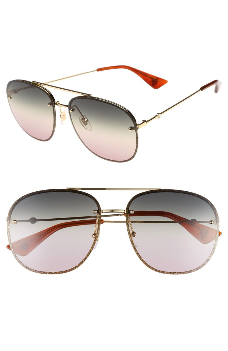 5278fae920e5a Free shipping and returns on Gucci 62mm Oversize Aviator Sunglasses at  Nordstrom.com. Logo medallions and bee-stamped accents detail the slender  temples of ...