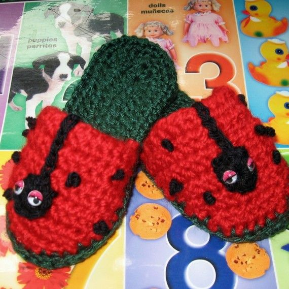 Toddlers Crochet Slipper Pattern Lady Bug Fun By Kalliedesigns