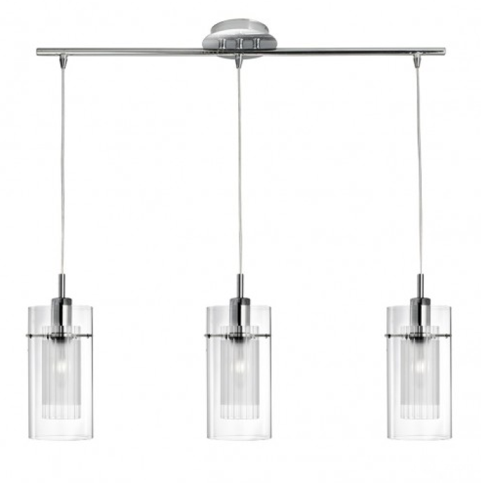 The design of this multiple pendant light has a chrome ceiling plate the design of this multiple pendant light has a chrome ceiling plate with three clear mozeypictures Gallery
