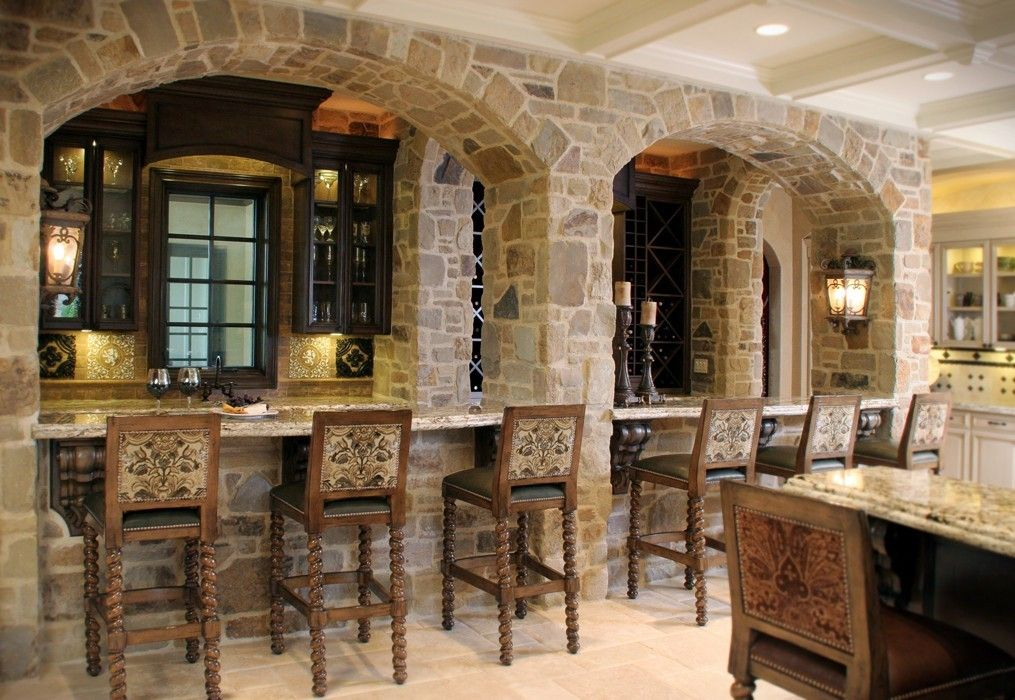 Stone Bar With Arched Facade   Mediterranean   Kitchen   Cleveland   House  Of L Interior Design