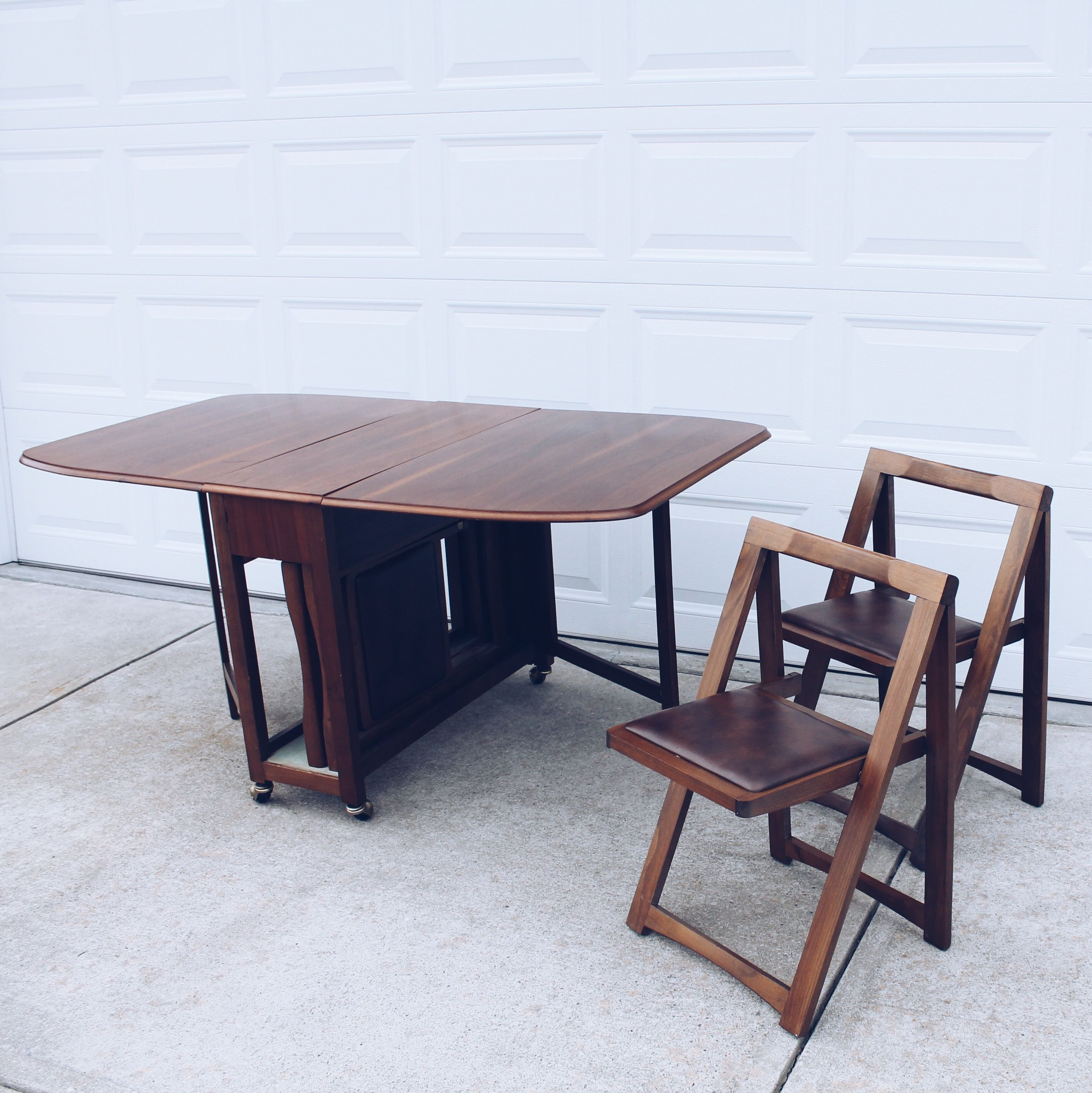 Drop Leaf Gateleg Dining Table With 4 Storable Chairs Set Chatham County Furniture Folding On Wheels