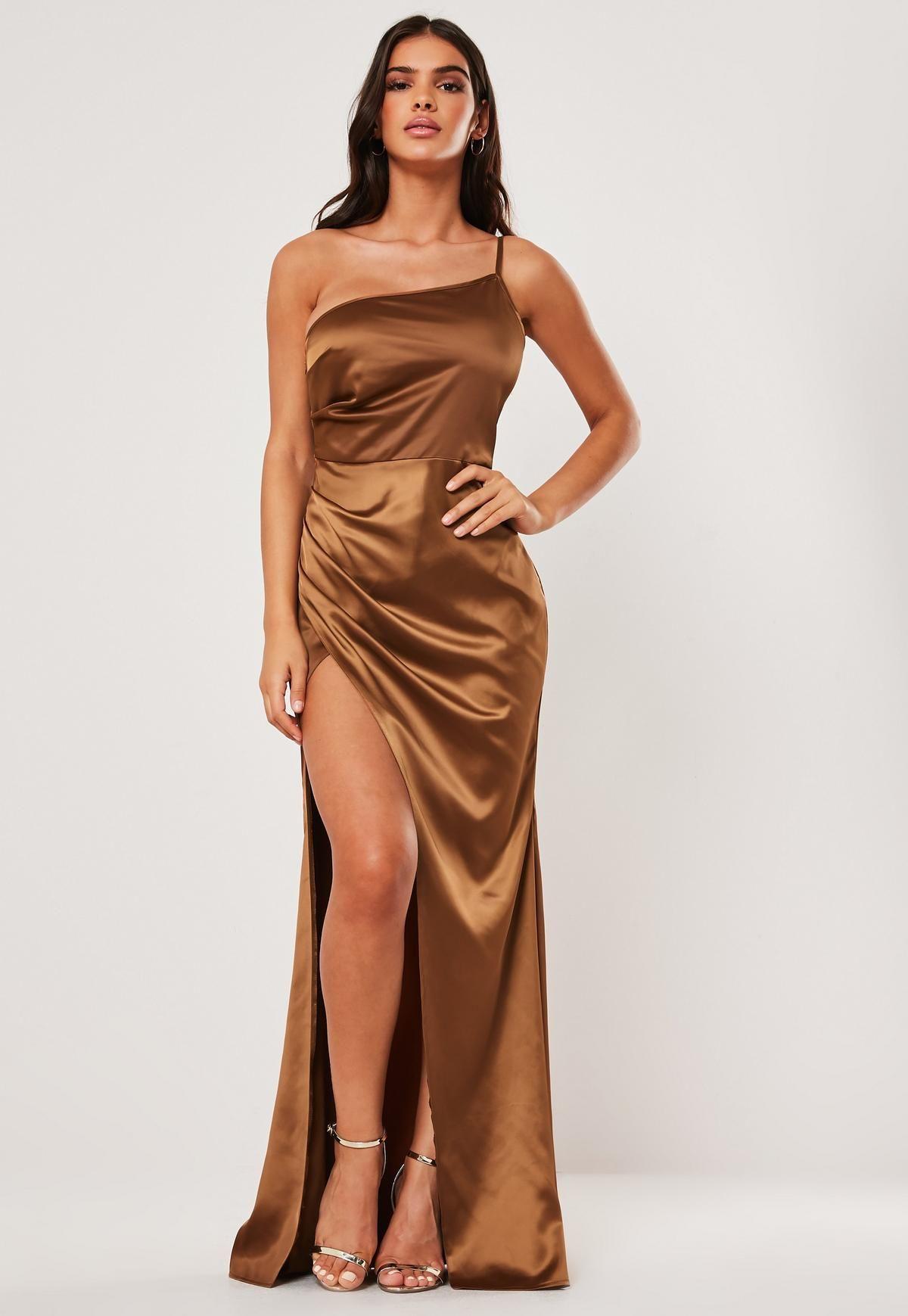 Tan Satin One Shoulder Maxi Dress Missguided Maxi Dress Drape Maxi Dress Trending Dresses [ 1739 x 1200 Pixel ]