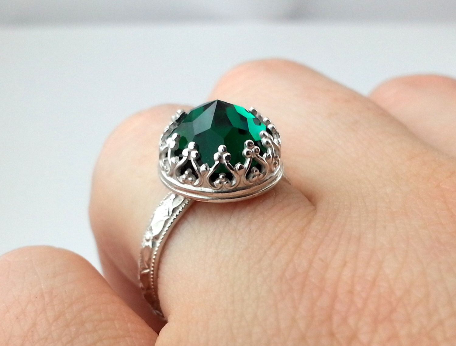 Emerald Green Ring Victorian Engagement Ring Swarovski Crystal Ring  Sterling Silver Ring Gothic Engagement Ring