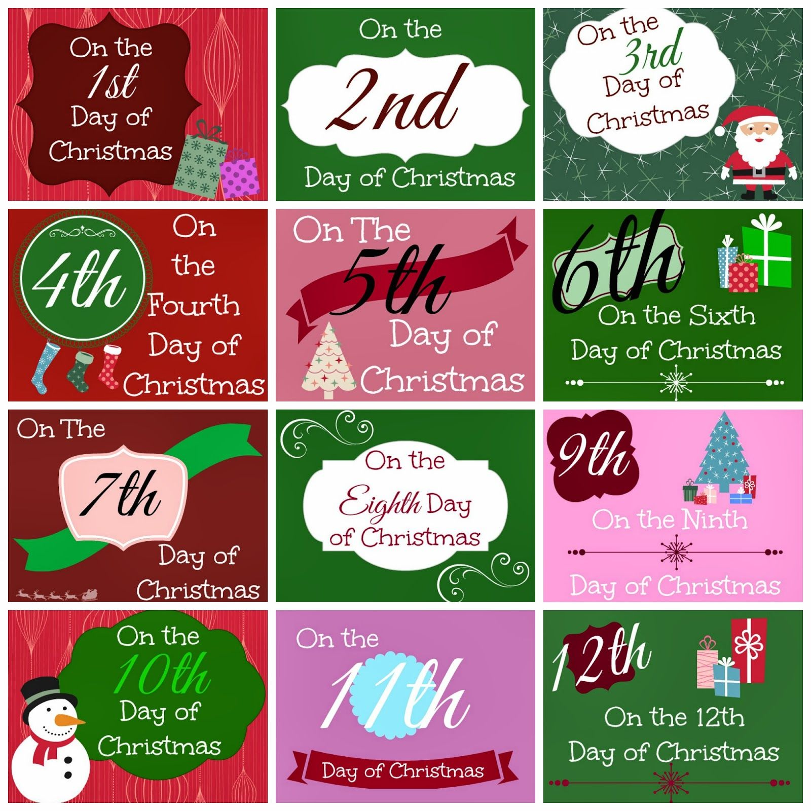 12 Days Of Christmas Printable Tags Busy Moms Helper Christmas Tags Printable 12 Days Of Christmas 12 Days Of Xmas