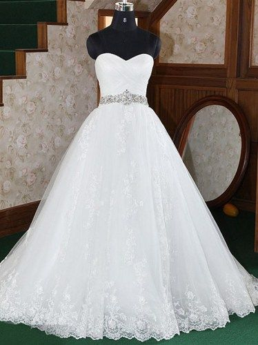 White/Ivory Vintage Beaded Lace Bridal Gown Wedding Dress ...