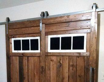 SINGLE Track Bypass System Sliding Barn Door Hardware Kit For 2 Doors