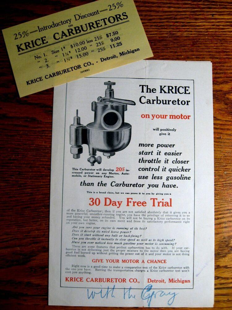 Advertisement Ebay 1910 1911 Krice Carburetor Brochure Marine Motors Original Brochure Sales Brochures Motor