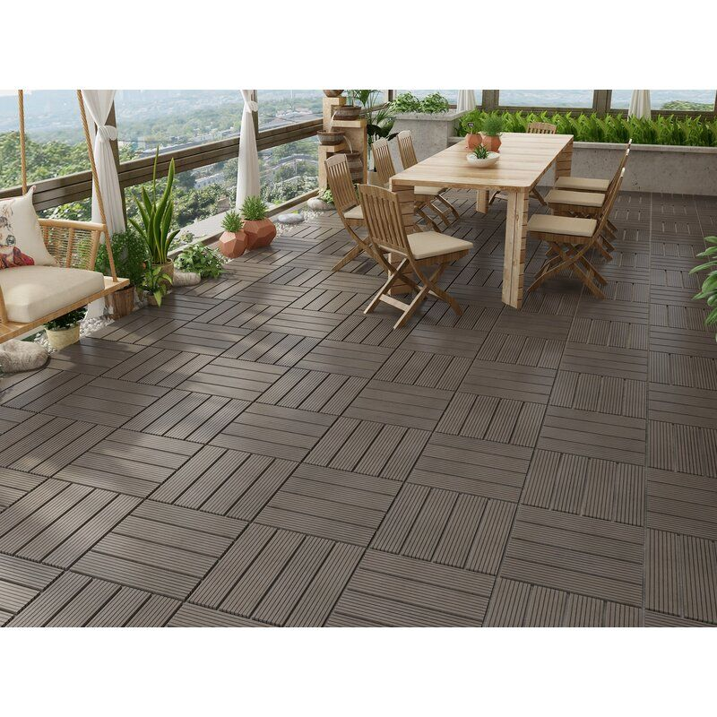 Naturesort Bamboo 12 X12 Bamboo Composite Interlocking Deck Tile In Dark Wood In 2020 Outdoor Flooring Options Patio Flooring Outdoor Flooring