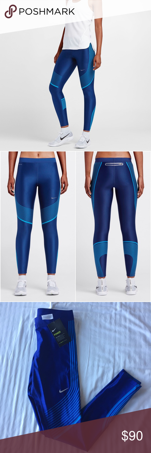 Nike Blue Power Speed Leggings •The Nike Power Speed Women s Running Tights  are designed to encourage every move with a compressive feel throughout and  a ... 897c8b1c985