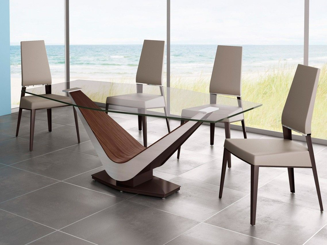 Awesome Rectangle Glass Dining Table With Contemporary V Shaped Wooden Base Modern Glass Dining Table Glass Dining Table Dining Table Design