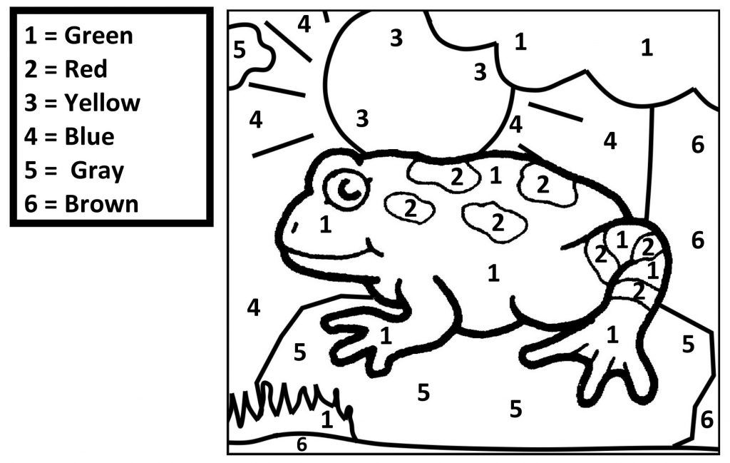 Free Printable Color By Number Coloring Pages Frog Coloring