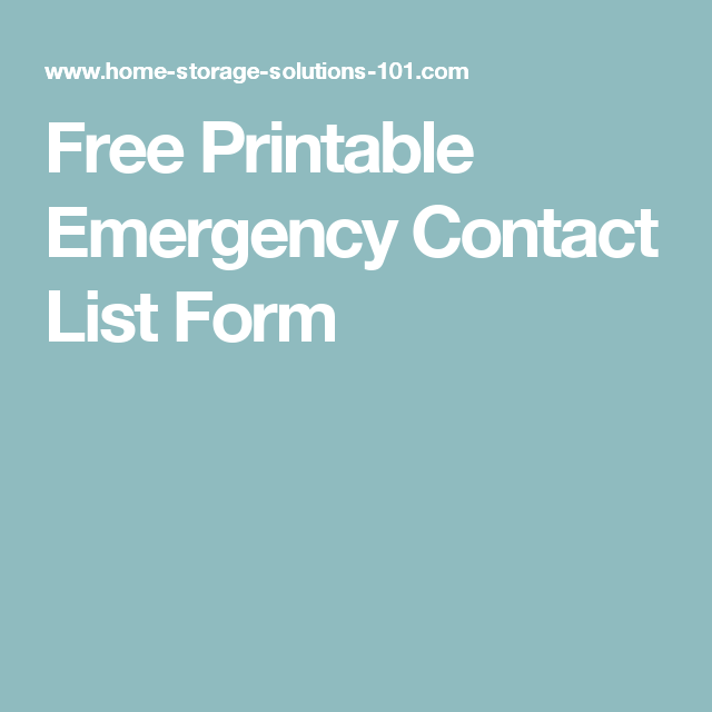 Free Printable Emergency Contact List Form  Free Printable