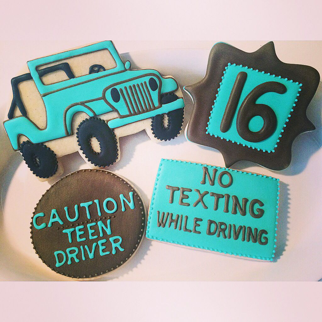 16th Birthday Treats: 16th Birthday Cookies, Jeep Cookies, Driving Cookies By