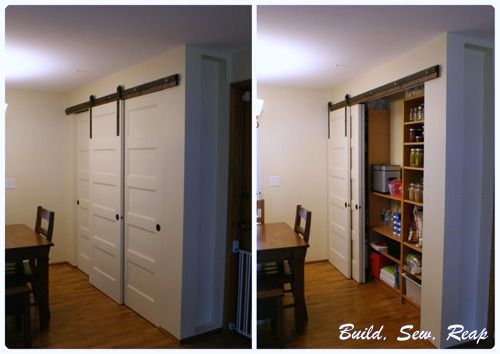 Triple Sliding Pantry Door Using Barn Door Hardware Build Sew Reap