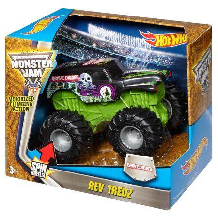 Hot Wheels Monster Jam Rev Tredz Grave Digger Vehicle Walmart Com Hot Wheels Monster Jam Monster Jam Hot Wheels