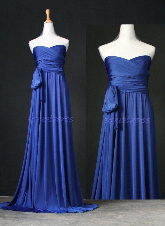 Royal Blue Maxi Dress Bridesmaid Infinity Wrap Convertible Women Formal Evening