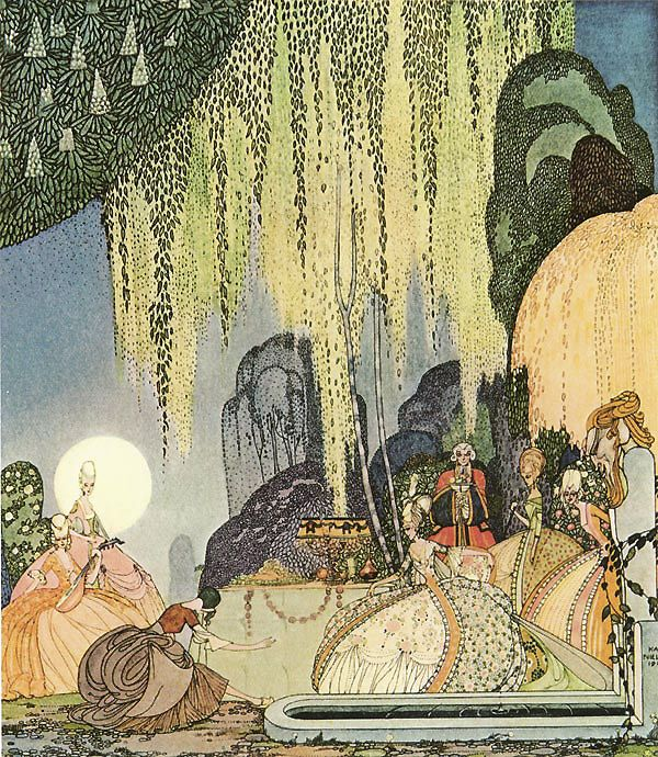 """Kay Nielsen - Illustrations for """"In Powder and Crinoline"""": The Pot of Pinks"""