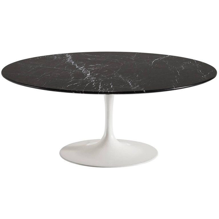 Eero saarinen nero marble coffee table marble pedestal