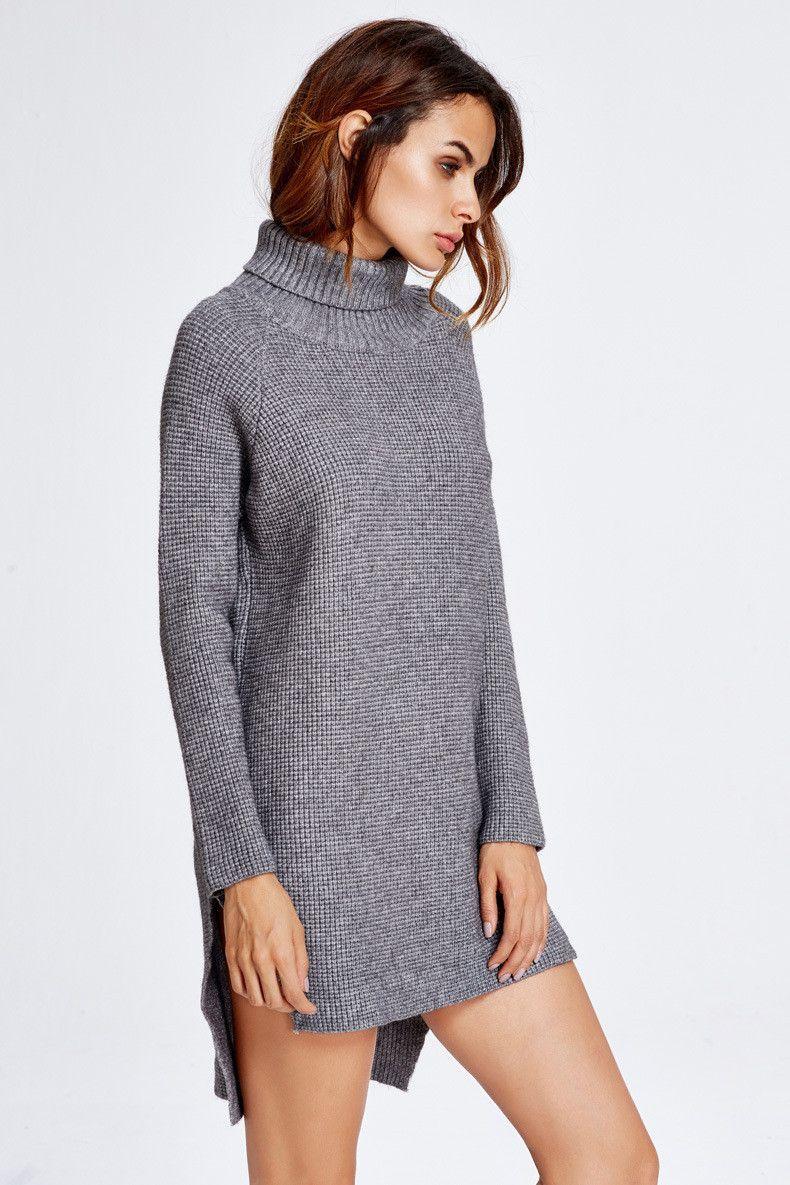 High neck dip hem slit loose short knit long sweater dresses