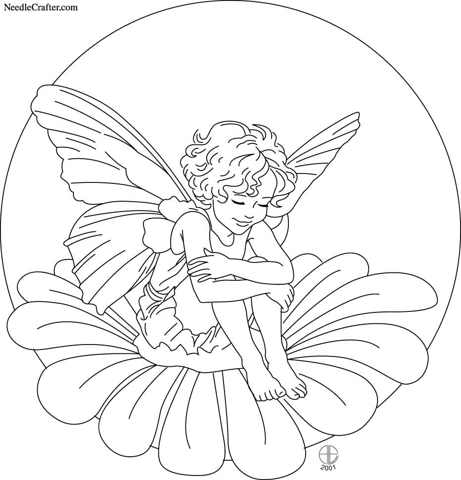 Flower Fairies Colouring : Stained glass coloring flower and fairies
