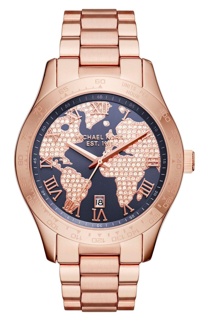 37bbe0372654 Shimmering crystals light up the globe-inspired dial of this stunning rose  gold bracelet watch by Michael Kors.