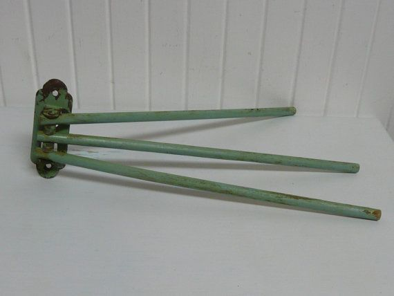 1940s Wooden Swing Arm Three Arm Towel Rack By