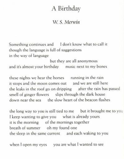W  S  Merwin poems | Birthday by W S  Merwin | Word Poems | Poetry