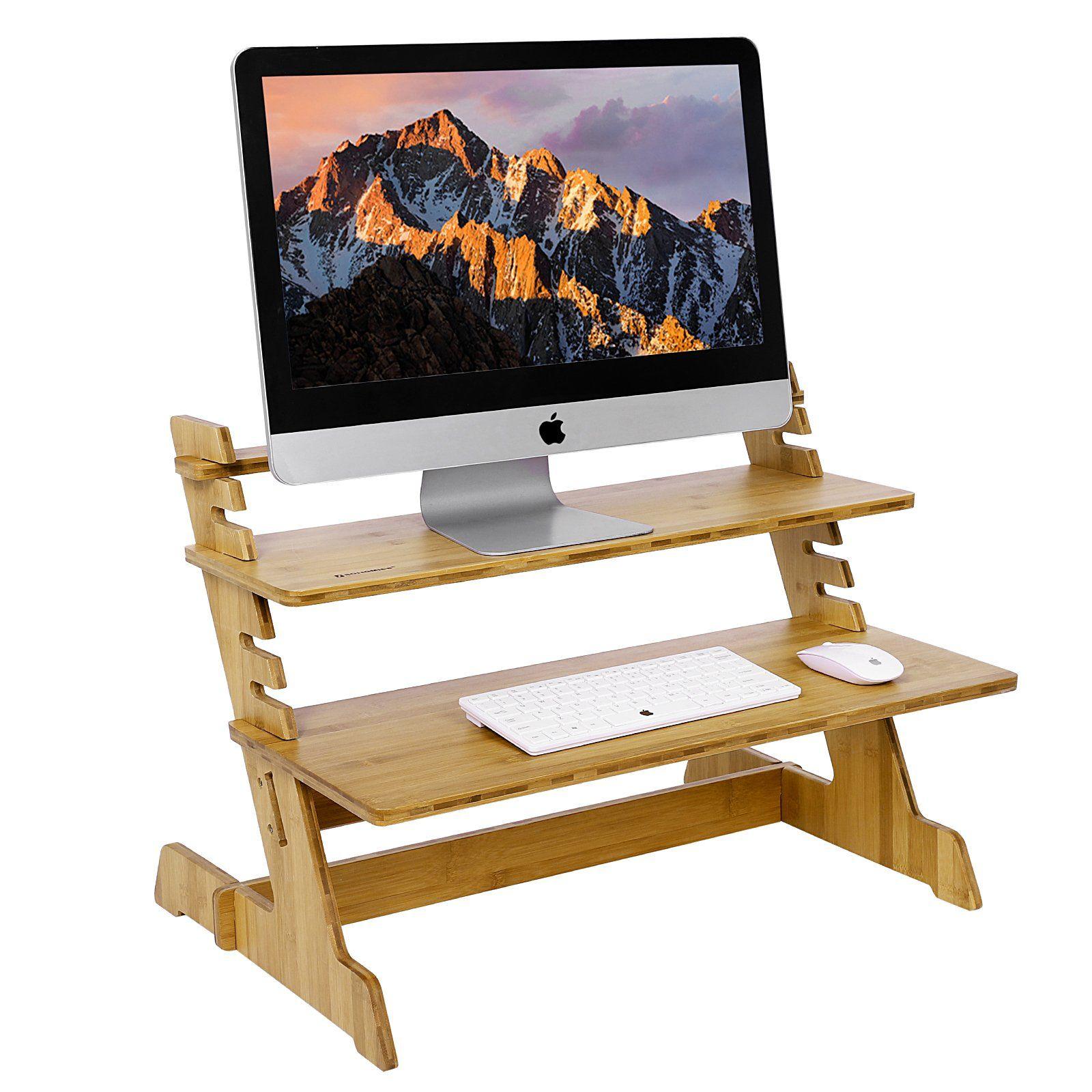 SONGMICS Bamboo Standing Computer Desk Monitor Stand Riser