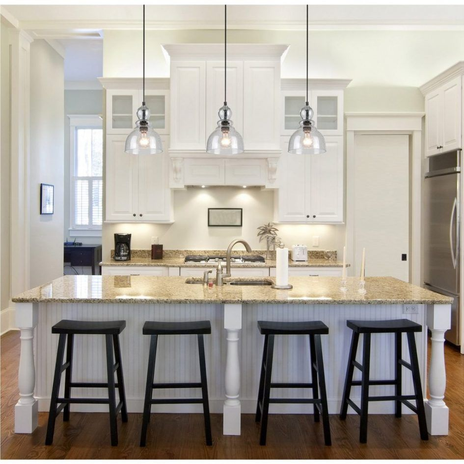 Modern White Kitchen With Island And Pendant Lights: Kitchen, Over The Island Lighting Kitchen Pendant Light