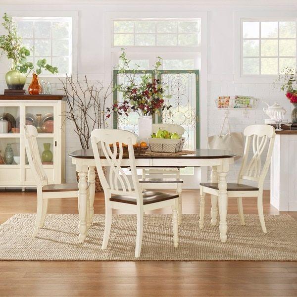 TRIBECCA HOME Mackenzie Country Antique Extending Scroll Back Dining Set |  Overstock.com Shopping