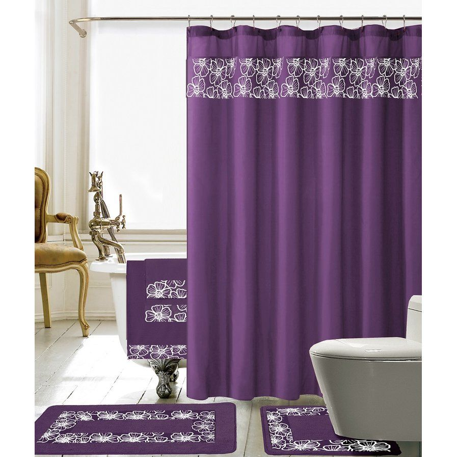 Elysee piece embroidery shower curtain set home stuff