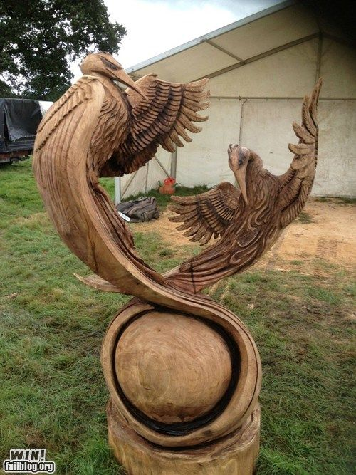 Chainsaw sculpting win pinterest