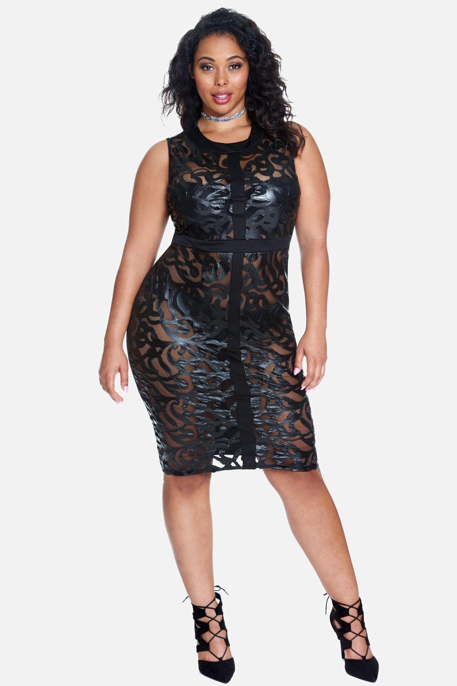 Plus Size Ava Mesh Bodycon Dress | Fashion to Figure ...