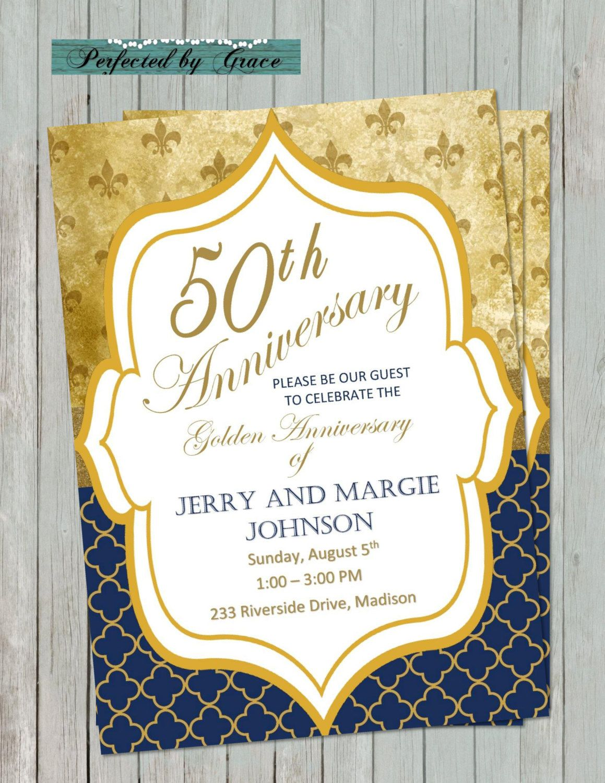 diy printable 50th golden wedding anniversary invitation fleur de