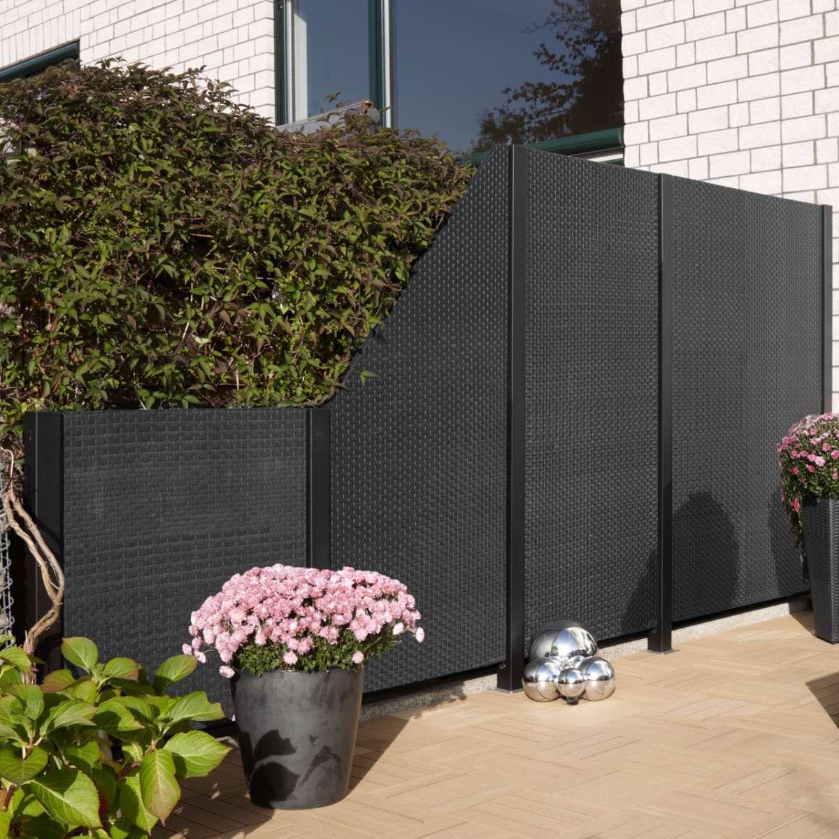 WPC DESIGZAUN ALU ANTHRAZIT 90 X 180cm Garten Pinterest