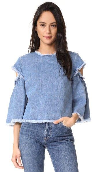 TANYA TAYLOR Denim Lida Top. #tanyataylor #cloth #dress #top #shirt #sweater #skirt #beachwear #activewear