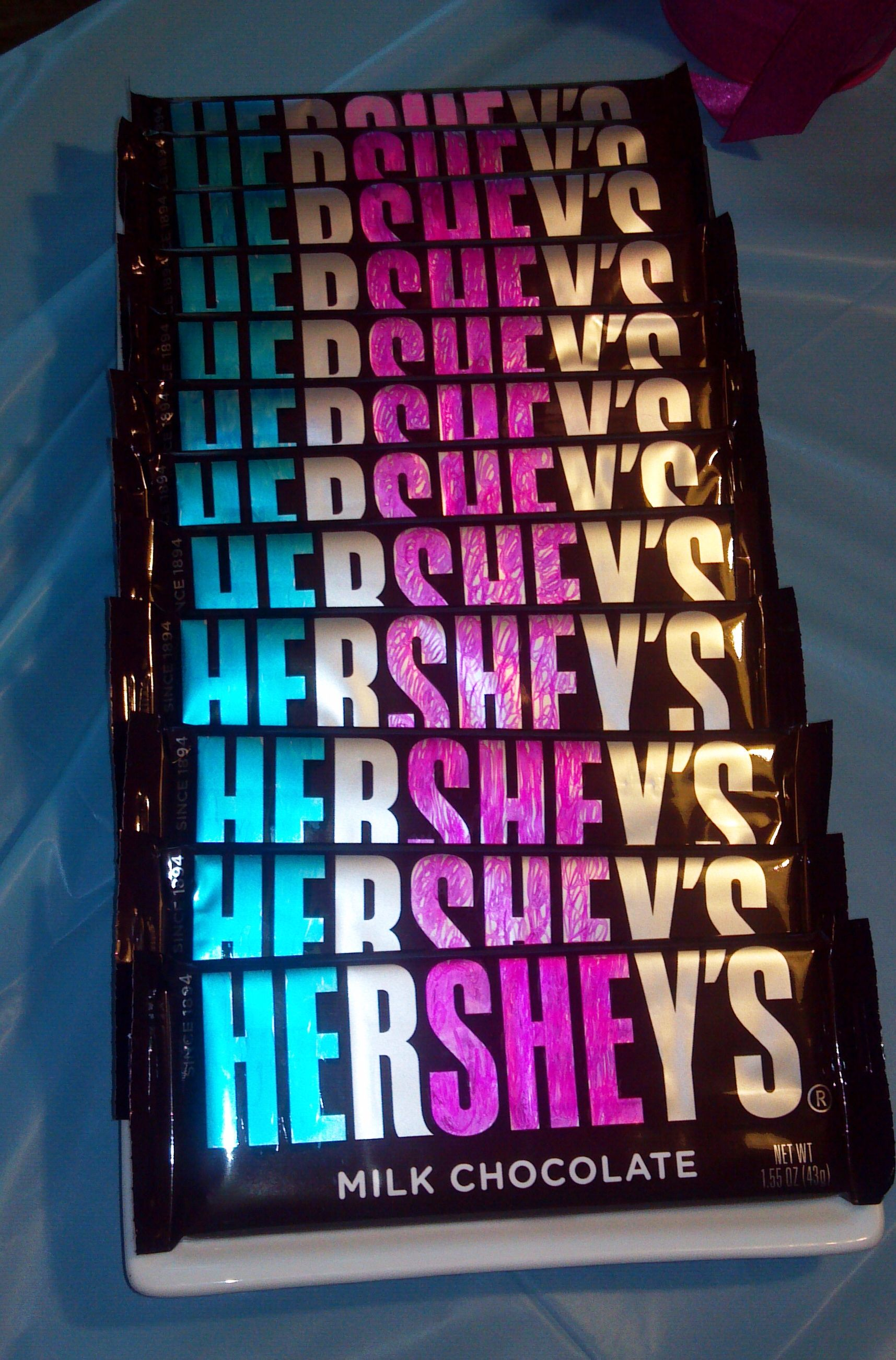 He She Hershey Candy Bars For Pink Blue Party