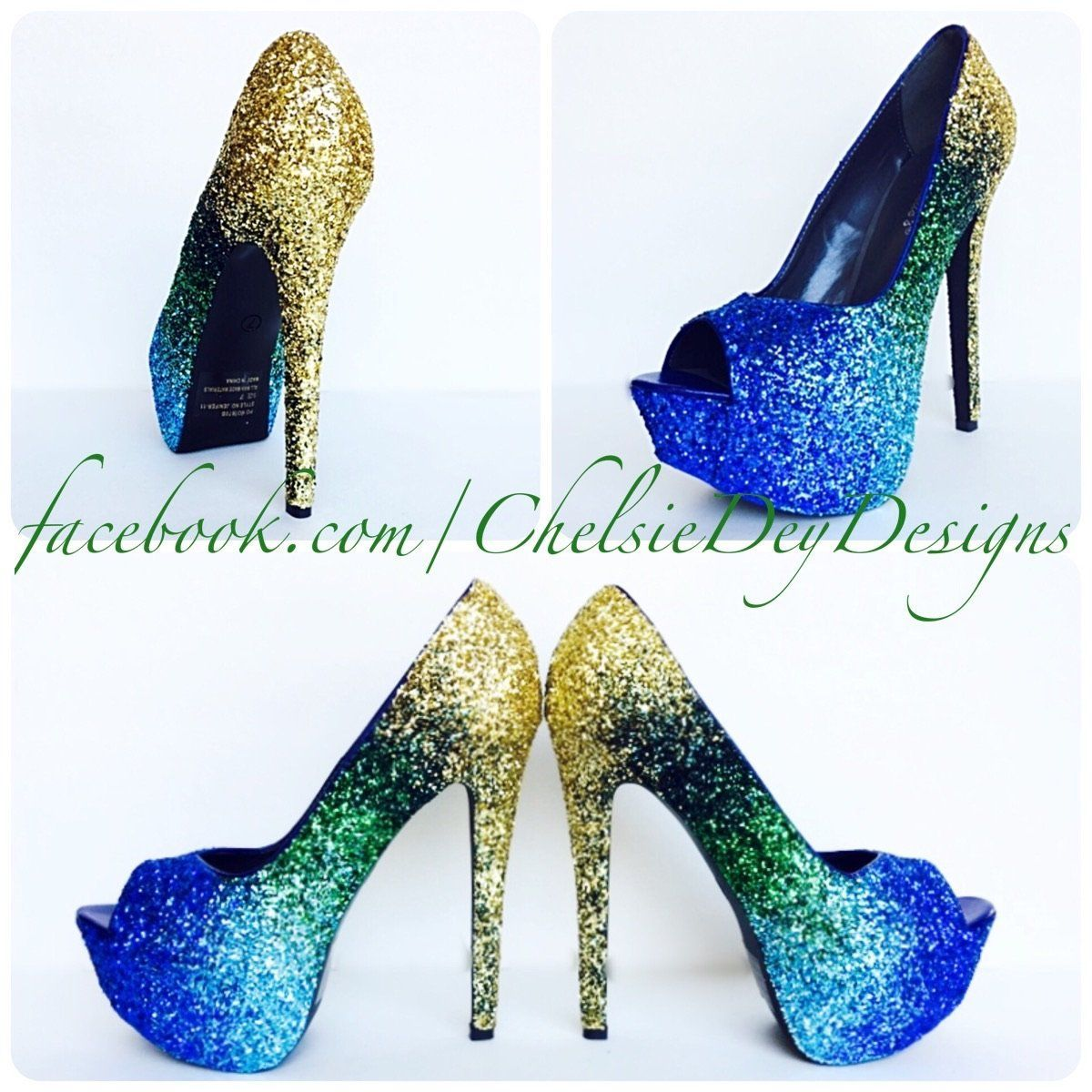 Glitter peep toe pumps something blue ombre wedding high heels